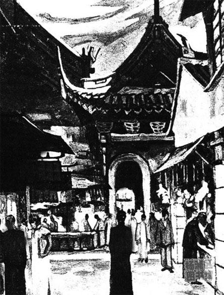 民国初年老城厢风景水彩画(五)